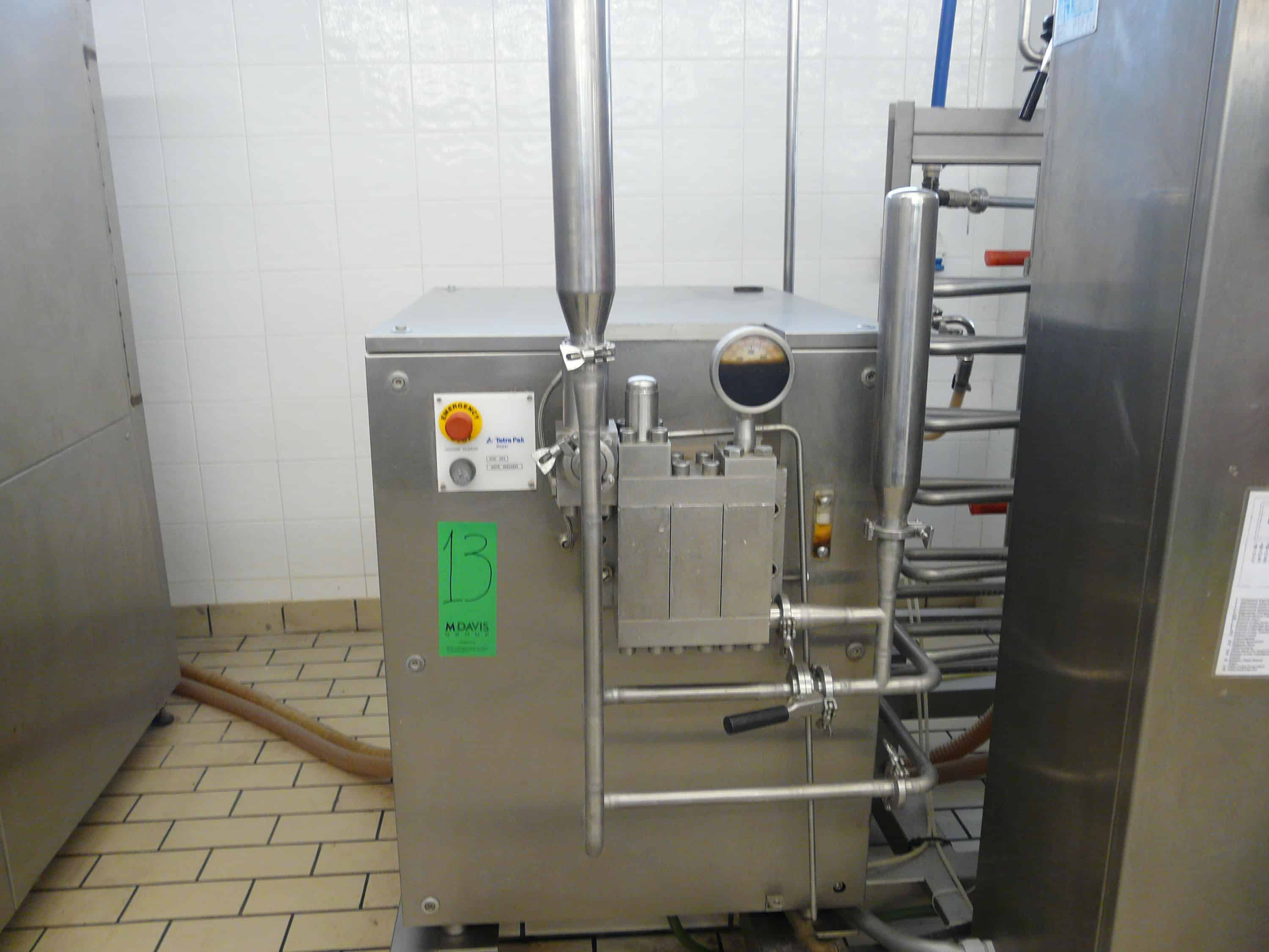 TETRA PAK HOYER HTST SYSTEM, 1200 Pasteurizer for Ice Cream, Contains 2 x Tanks with Agitators,1 Plate Heat Exchanger ALFA LAVAL Model: CLIP 6-RM, Homogenizer Tetra Pak Model: XR3 with Manual Book, 2 Product Pumps, 1 Water Pump, 1 Pump for Feeding the Material Through a Cone Type Pipe, Control Panel, 1 GAS Boiler Make: SIME, 1 Tank for Returning the Mixture, It is on Two Stainless Steel Pallets Dimensions: 520x160x20 and 50x160x20. Y.O.M.: 2001