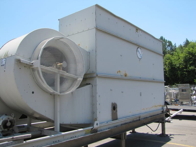 Baltimore Aircoil Company Cooling tower. Has matching chiller if needed. 8'9 High x 5'2 Wide x 19'2 Long. Actual cooling pump runs 480 volts 5 kw and 3 PH. Fan runs 230/460 volts 60 Hz 15.0 HP 3 PH 1745 RPM and 40.0/20.0 FL Amps, Model: VTL-137-LVCX, Serial Number: 95200491