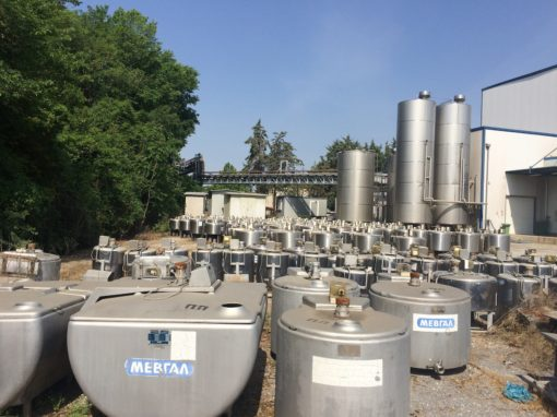 Dairy Equip Auction Including 100's of S/S Tanks, Fluid Milk, Yogurt & Cheese Equip – Surplus to Large Grecian Dairy