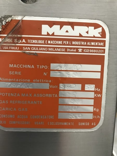 Mark Continuous Ice Cream Freezer, Model Gelmark 160, S/N 782 with R22 Refrigerant, 6 KW, 380 V