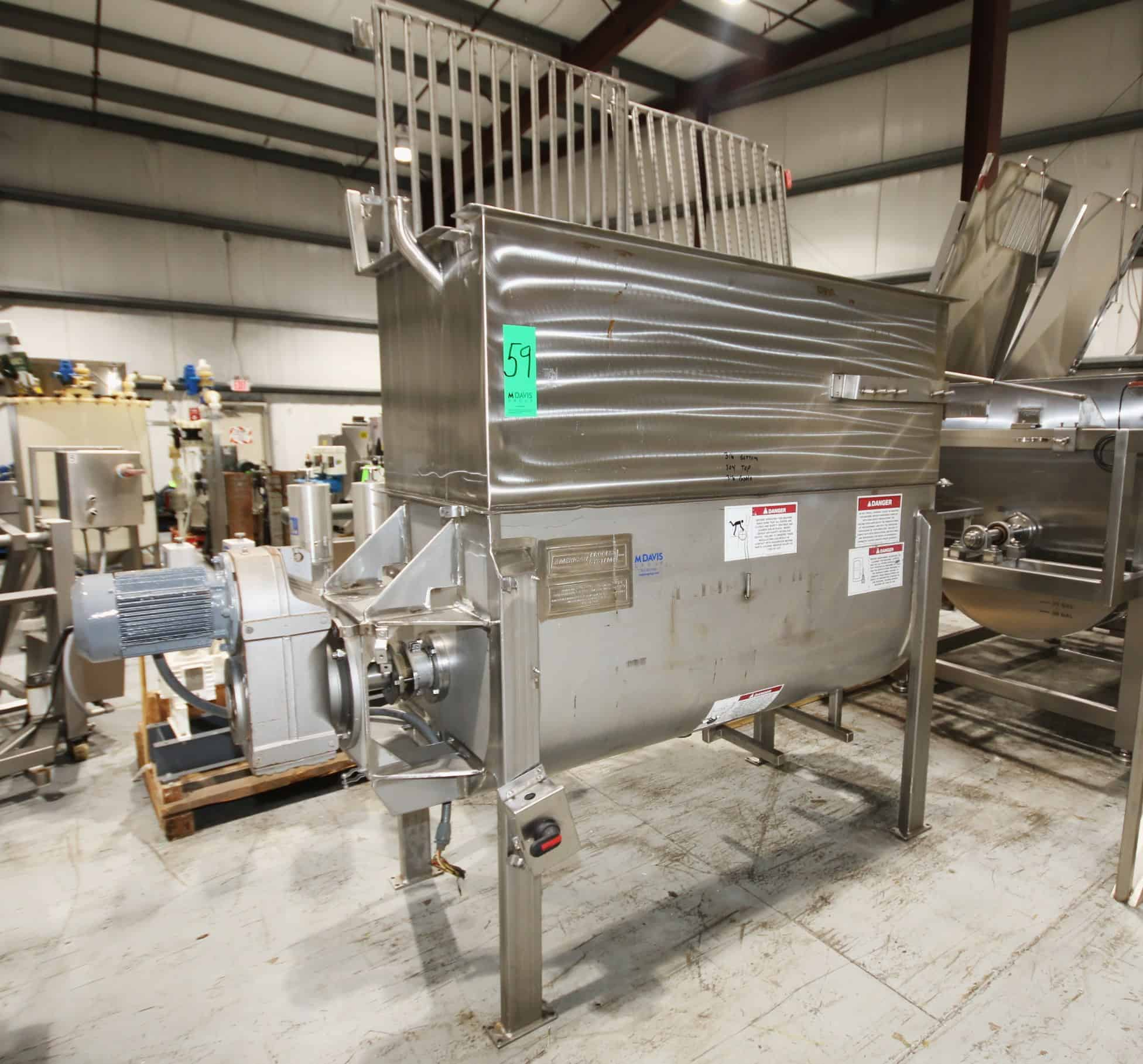 American Process Systems Approx. 72″ L x 60″ Deep x 30″ W All S/S Paddle Blender, Model SPB-30, S/N 5030 with 316 S/S Bottom, 316 S/S Paddle and Magnetic Safety Guard (Located in Pittsburgh)