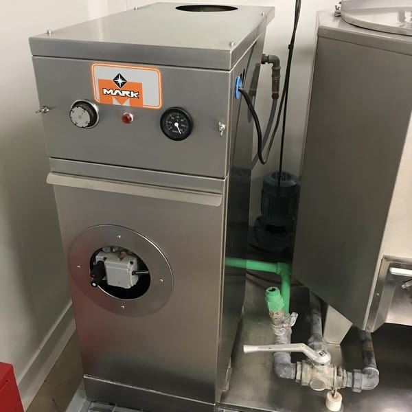 Mark 150 Litre / 39 Gal. S/S Ice Cream Pilot Mix Plant includes Homogenizer; (2) S/S Mix Tanks with Hinged Lids, Agitator and Motors; Product and Water Circulating Pumps and Mark Hot Water System/Boiler