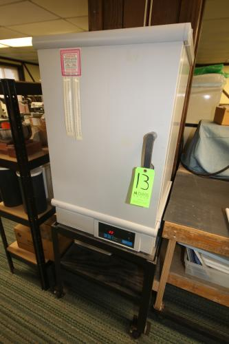 """Fisher Scientic Isotemp Oven, M/N 750F, S/N 902N0020, 120 Volts, (5) S/S Wire Shelving, with (12) S/S Pans 17"""" L x 12"""" W, Mounted on Portable Cart"""