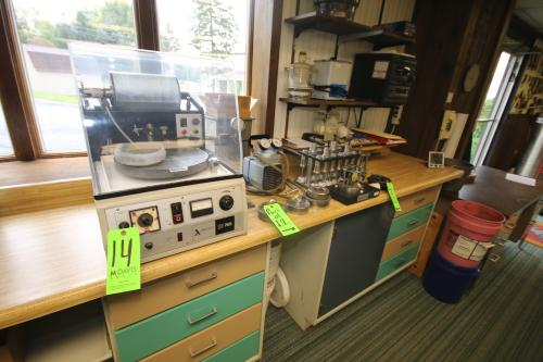 Logitech Precision Lapping & Polishing Machine, M/N PM2A, S/N 347-88, 110 Volts, with Safety Enclosure, and Large Assortment of Operating Parts Including Vacuum Pump, Specium Plate Press, Weights, and Other Parts