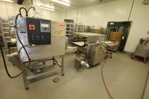 "Shanklin Stretch Wrap Packaging Line, Includes Shanklin Heat Sealer, M/N A27ADA, S/N A0457, 230 Volts, with 19-1/2"" Wide Belt and Shanklin Heat Tunnel, with 14-1/2"" Wide Belt"