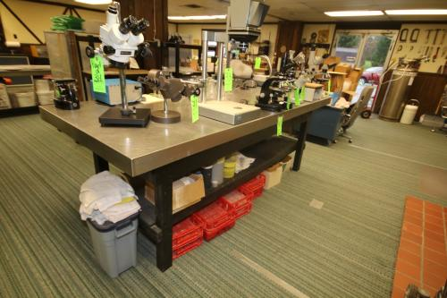 """S/S Top Lab Table, with (1) Bottom Shelf, Table Top Dims.:  113"""" L x 47"""" W x 40""""H"""
