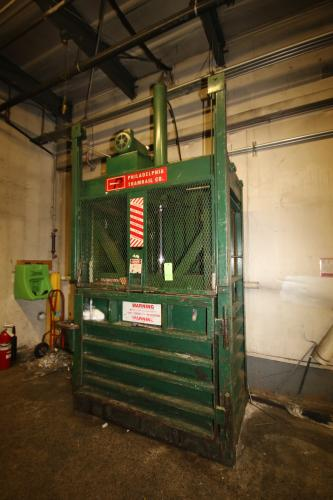 "Philadelphia Tramrail Vertical Trash Compactor, Overall Dims.: Aprox. 76"" L x 45"" W x 162"" H"