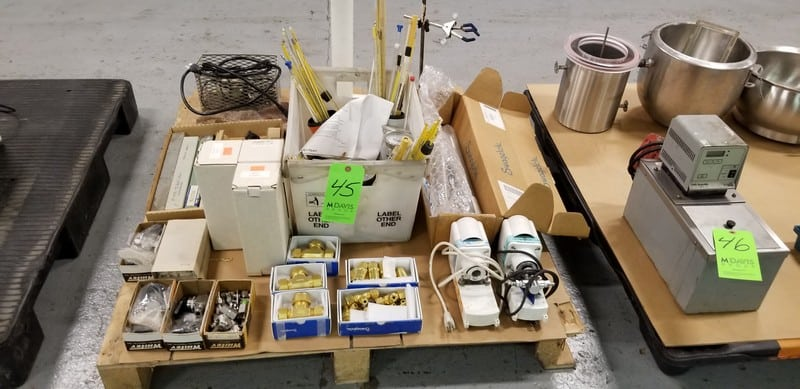 Assorted Lab Supplies on One Pallet includes: (2) Vitamin Pumps, Thermometers, Hydrometer,  Swagelok Fittings, Arle Plas Products Deluxe Fittings, Crows Feet, Etc.