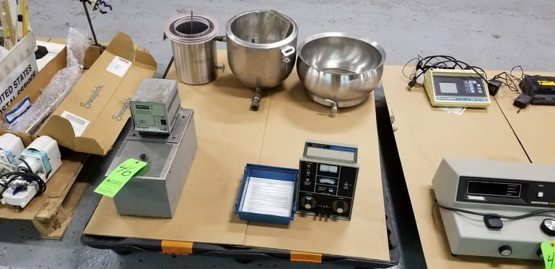 Assorted Lab Equipment on One Pallet includes VWR Temperature Water Bath, #1130A, S/N 513830; Rosemount Analytical Conductivity Bridge, Model RC-16D,S/N 55018 and (3) Assorted S/S Mixing Bowls - (1) Jacketed