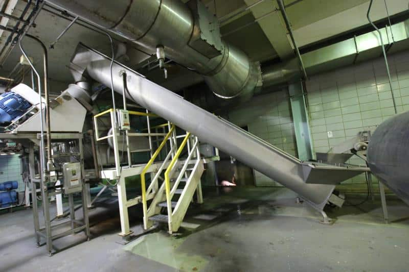 Approx 2' W x 15' L S/S Incline Screw Conveyor / Auger, Feeds Into Reitz Mill