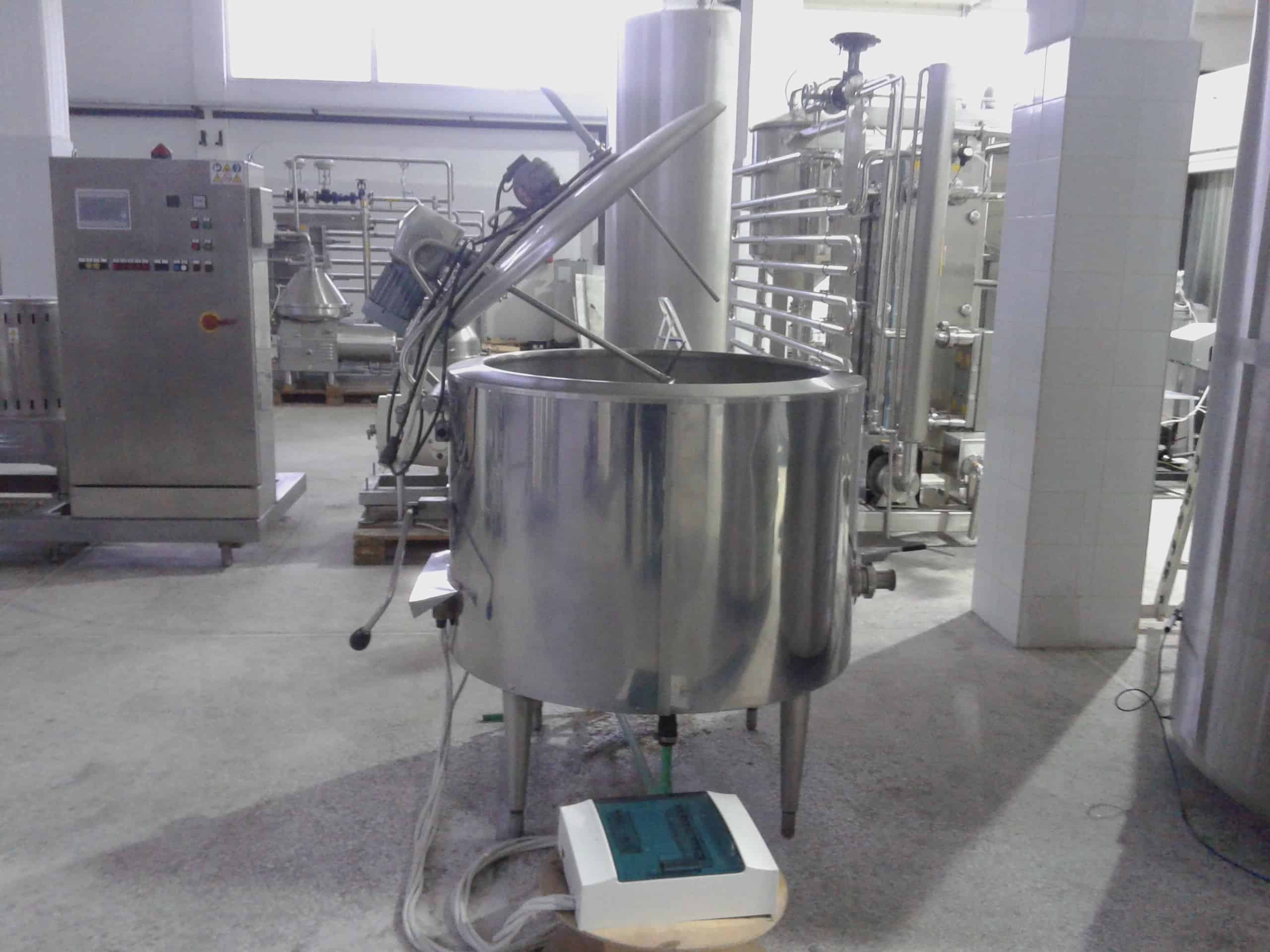380 Liter S/S Processor / Batch Pasteurizer, Equipped with Top-Mount Prop Agitation, Hinged-Lid, All S/S