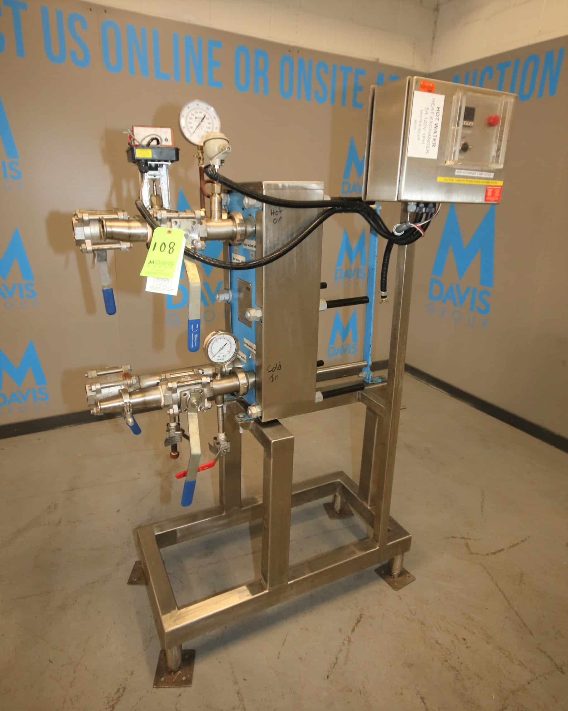 """2012 HRS Skid Mounted S/S Plate Heat Exchanger, Model FP 10 - 47 - 1 - EH, S/N P12296-P0405 with On-Board Temp Controls, 2"""" Connections with Ball Valves & Control Valve"""