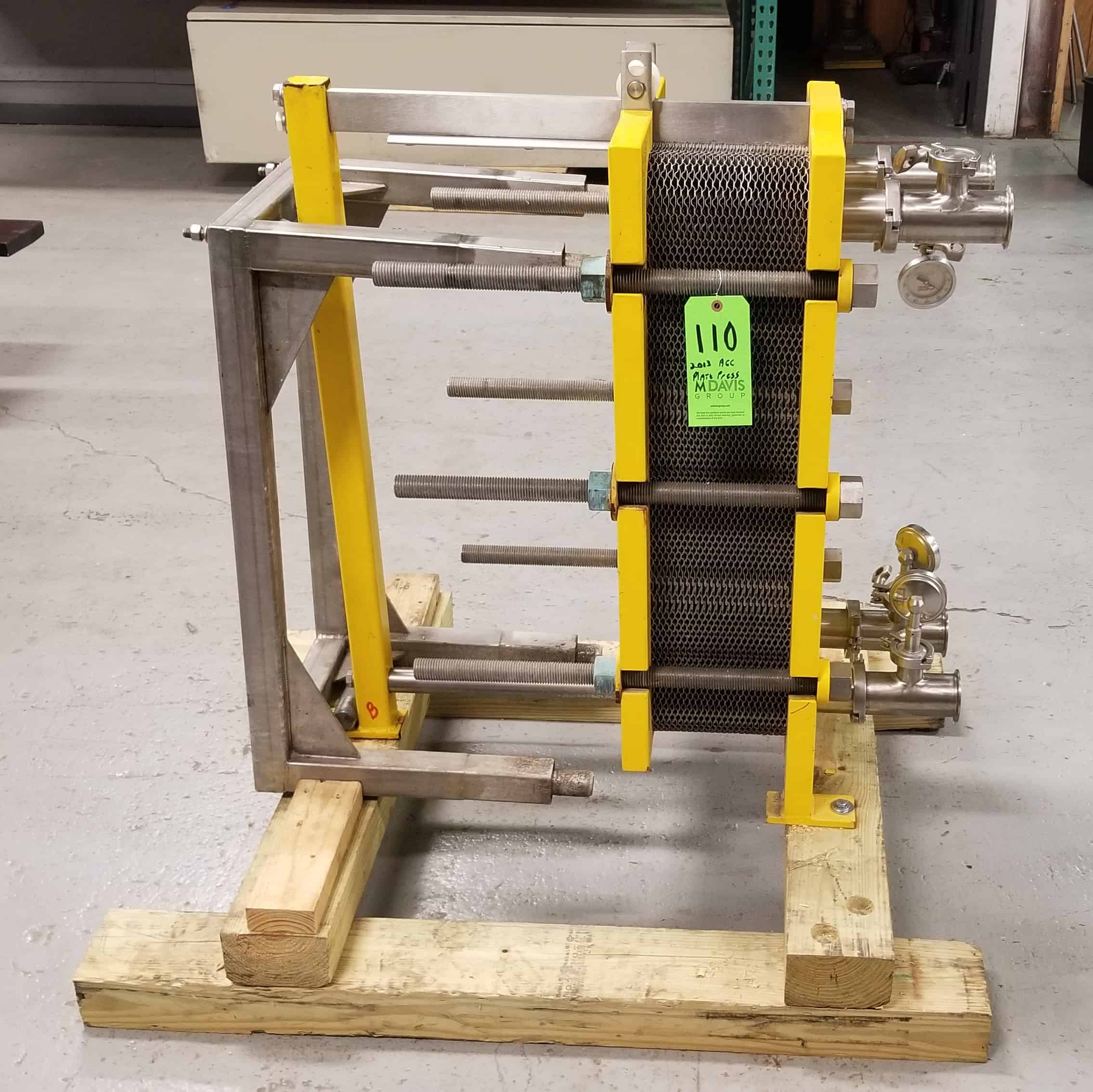"""AGC 38"""" H S/S Plate Press, Model PRO2-F, S/N 2013122 with (46) S/S Plates, 2-1/2"""" Clamp Type Connections with Gauges, 250 Degree Max. Temp, 150 Max. psi includes S/S Stand"""