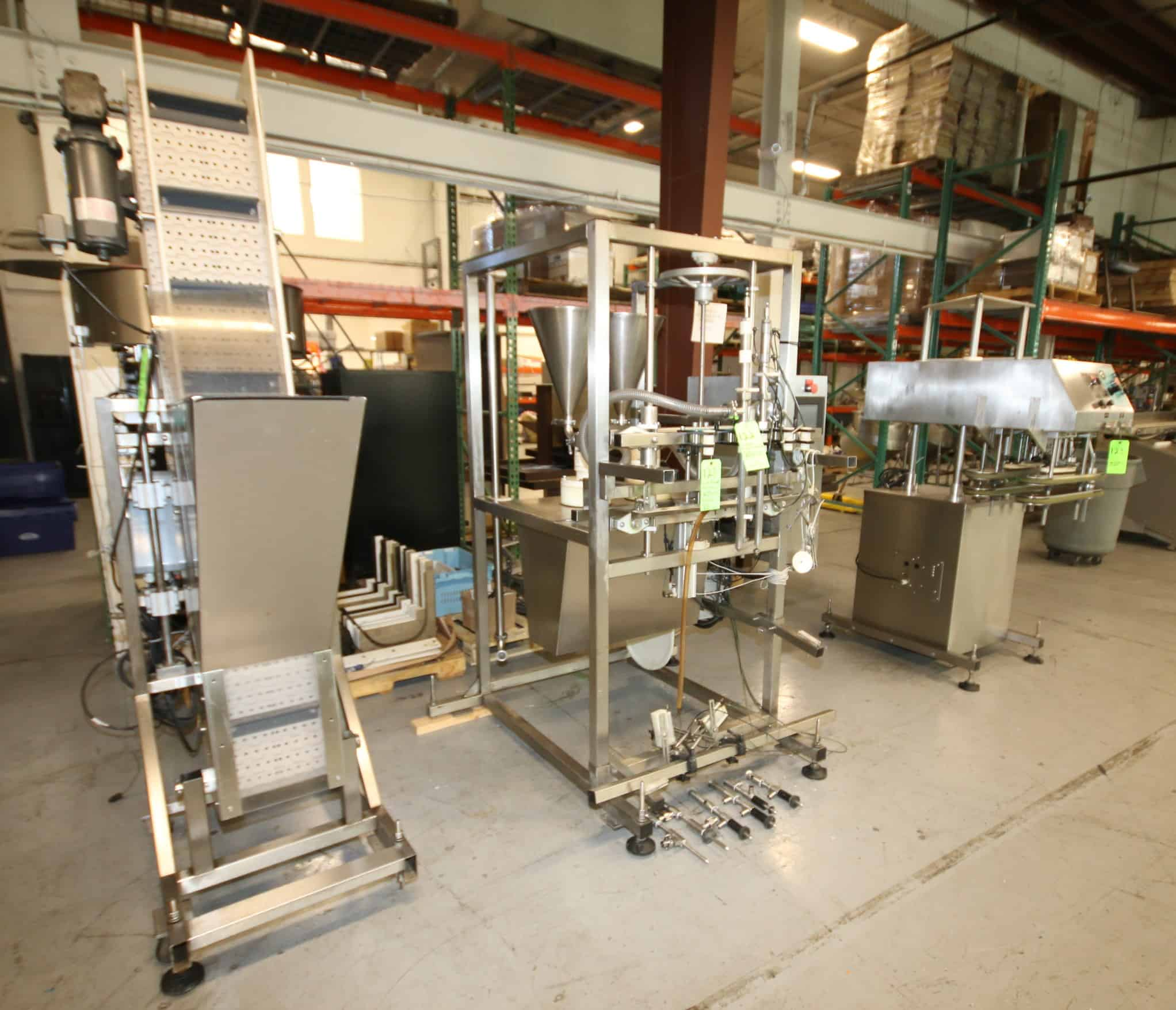 JAR FILLING LINE INCLUDES INLINE FILLING SYSTEMS FILLER, CAP FEED HOPPER WITH CAPPER