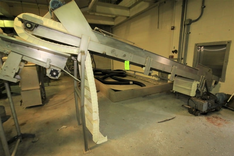 "16 ft. L S/S Inclined Conveyor System, with 24"" W Intralox Belt with 8"" Flights, Siderails, SKK Drive, up to 65"" H Leg Supports"
