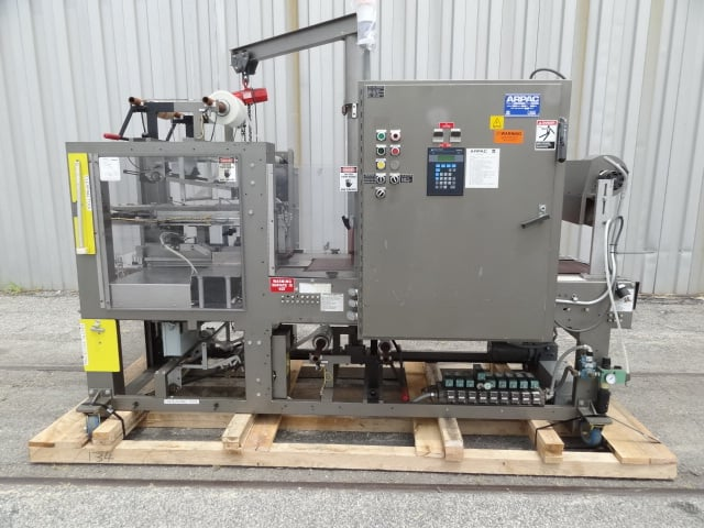 Arpac Shrink Bundler, Model # 106-16, S/N 3442, small carton accumulator / stacker into film shrink wrapper / AB PLC(Located in South Carolina) ***NSP***