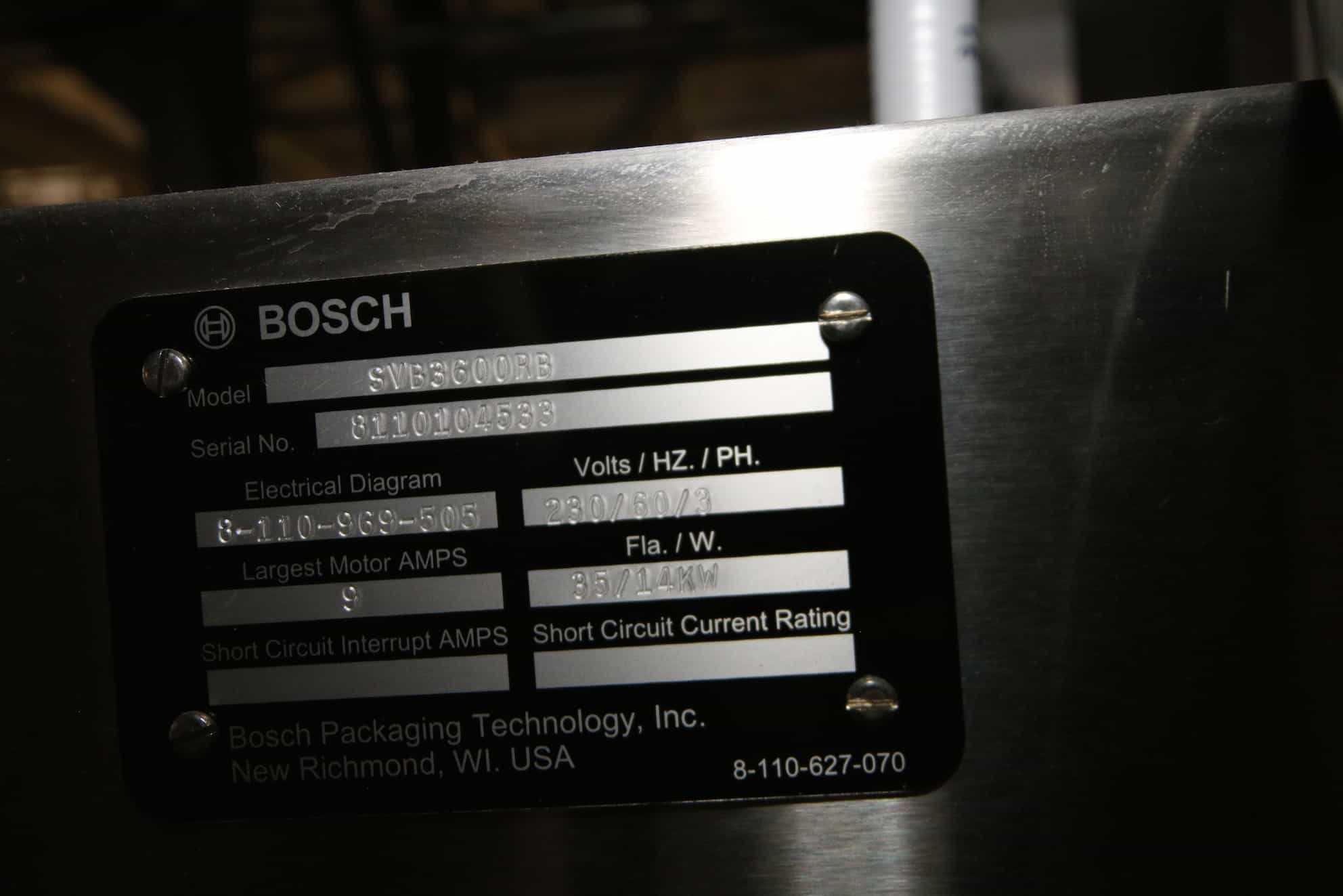 """Bosch ALL S/S Form Fill and Seal Bagger, M/N SVB3600RB, S/N 8110104533 with Allen Bradley Panel View Plus 1250 and Allen Bradley PLC, Cat #:  1769-ECR, 30"""" W Rolls"""