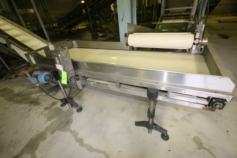 "~8 ft. 9"" L S/S Inspection Conveyor System, with 34 1/2"" W Belt with, S/S Siderails, SEW Electric Drive Motor, 29"" H Leg Supports & Square D Switch"