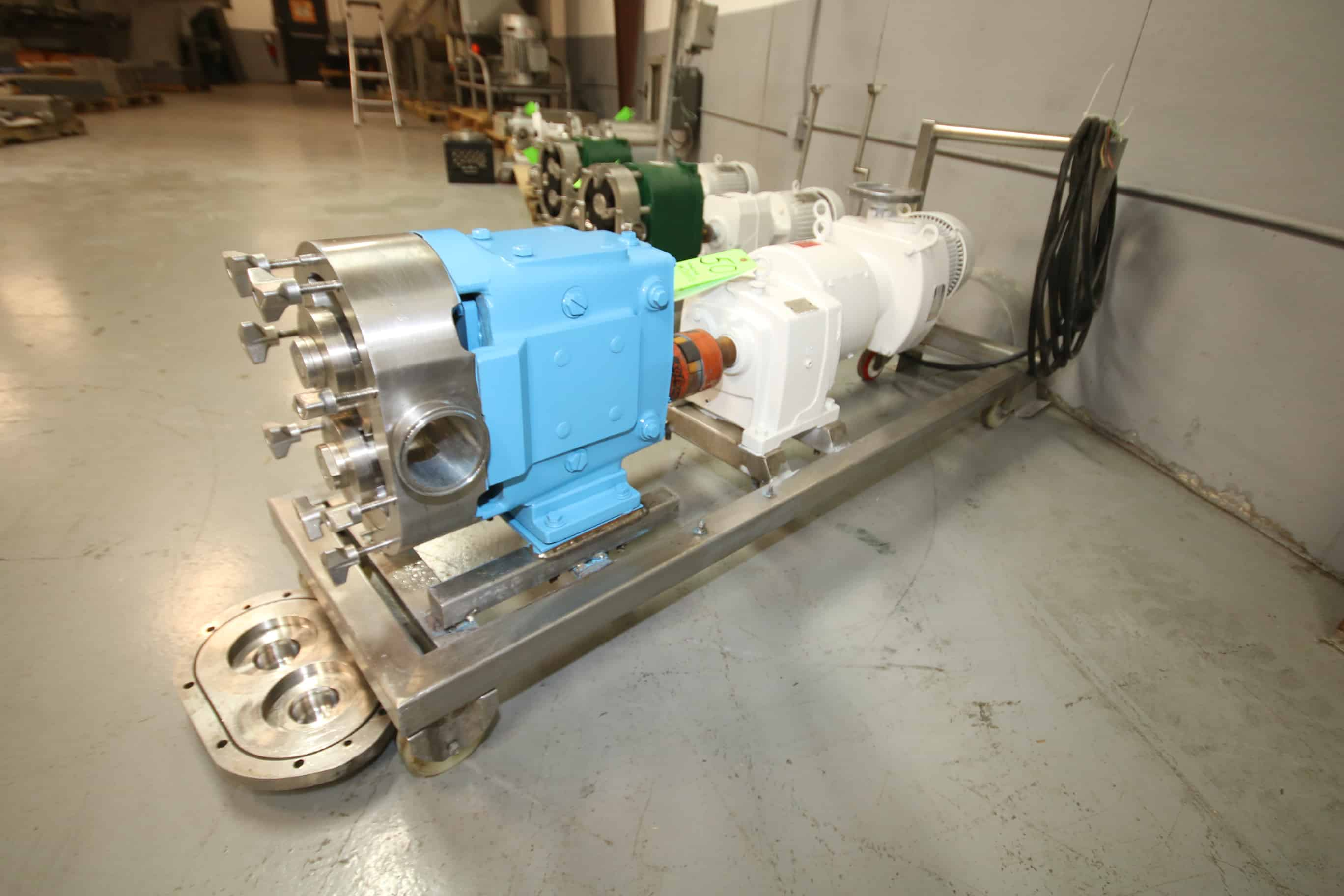 "Waukesha/Cherry Burrell Positive Displacement Pump, Model 130 with 3"" x 3"" Clamp Type S/S Head, U.S. Electrical 10.2 hp Gear Head, Gear Ratio 5.06, U.S. Electrical 5 hp Variable Speed Drive, 230/460 V, 3 Phase, Mounted on Portable S/S Frame"