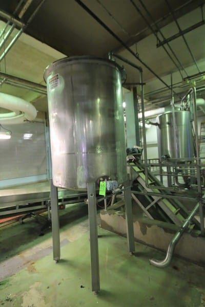 "~500 Gal Vertical Single Wall S/S Tank with Hinged Lid, S/S Legs, Rosemont Level Sensor, (Tank Dimension ~55 - 65"" H x 48"" W)"