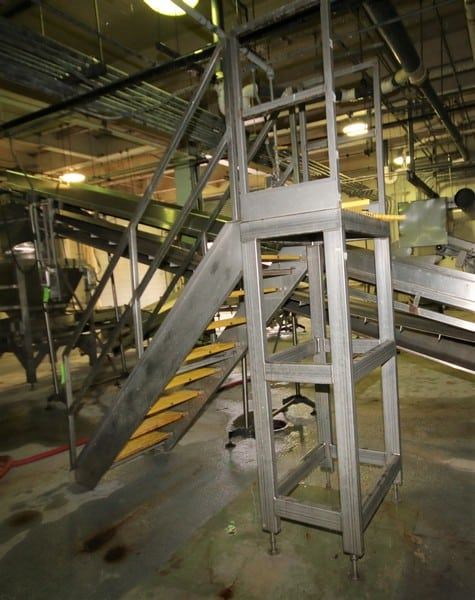 "~6 ft. 4"" H S/S Tank Platform Stairs with ~30"" W x 24"" L Platform & Handrail"