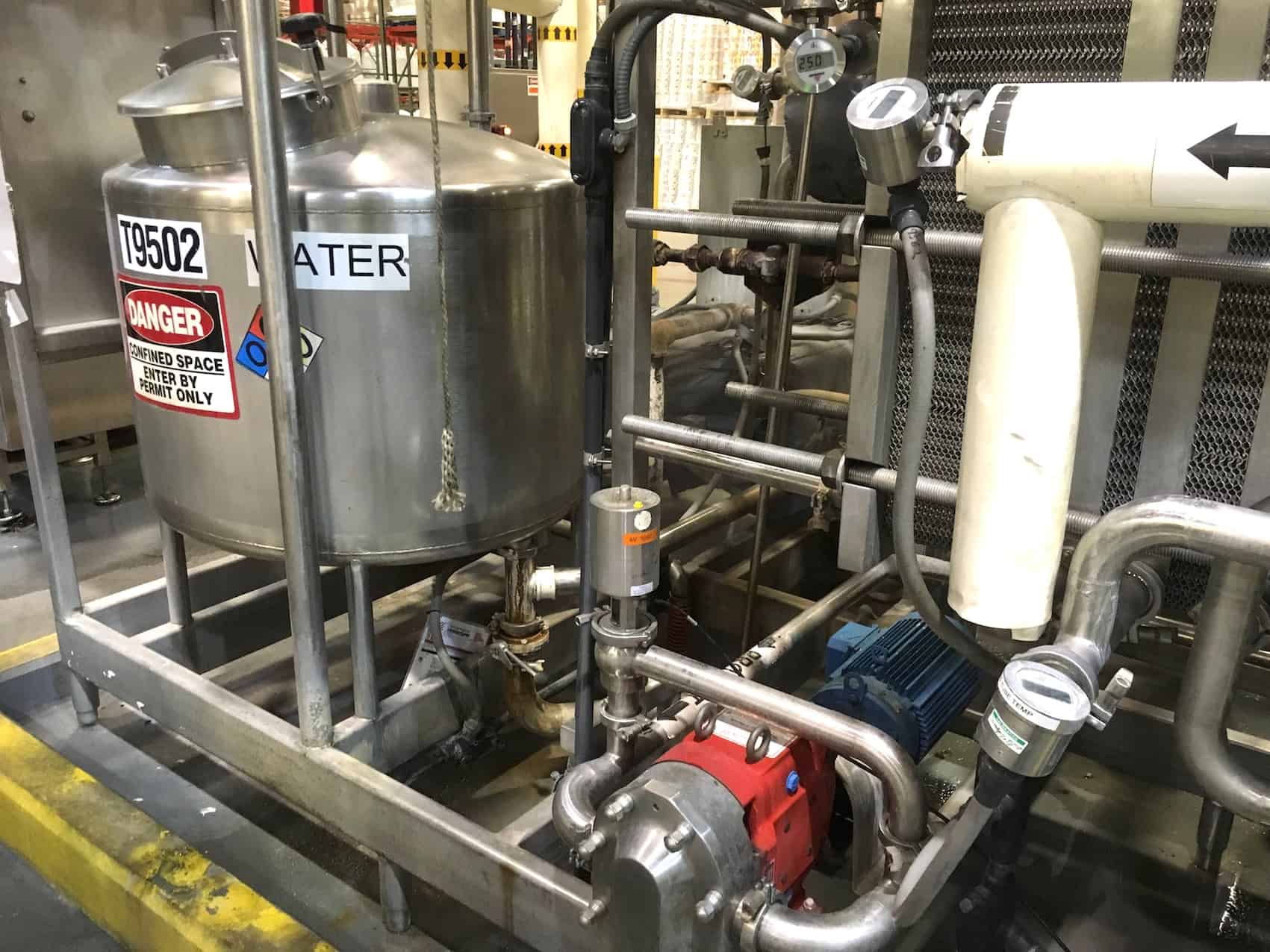 Skid Mounted HTST Pasteurization System for Hot Fill, Setup for Juice at 25 gallons per minute at 200F, 460 Volt 3 Phase 60Hz, Water 40 PSIG, Air 80 PSIG, Steam PSIG, Includes APV Multi-section Plate Heat Exchanger for Heating-Cooling-Regeneration, Holding Tube for Pasteurization, Control and Steam Valves, Fristam High Pressure Pumps, Anderson Chart Recorder, (2) Stainless Steel Buffer Tanks, Last in operation November 2017 (Located in North Carolina) ***FBEV***