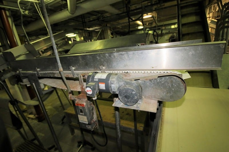"~8 ft. L Conveyor System with 18"" W Intralox Conveyor with Flights, Side Rails & Electric Drive, Mounted on 79"" H Legs"
