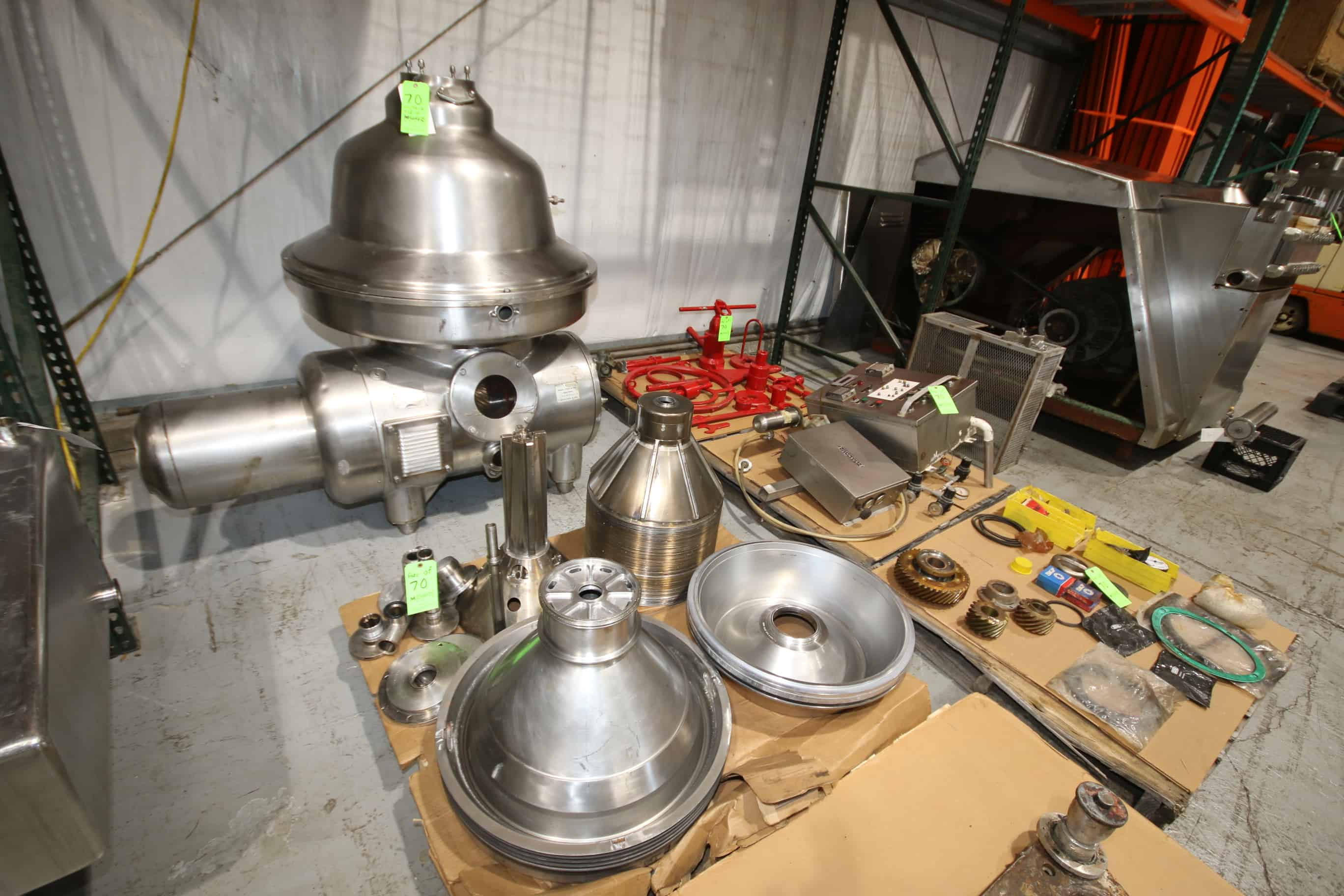 GEA/Westfalia CIP Separator/Centrifuge, Model MSB130-01-076, S/N 1685-105, Bowl Speed 4500 RPM includes Set of Service Tools, Some Spare Parts and (2) Control Panels, M. Davis Group Showroom Auction, Pittsburgh, PA