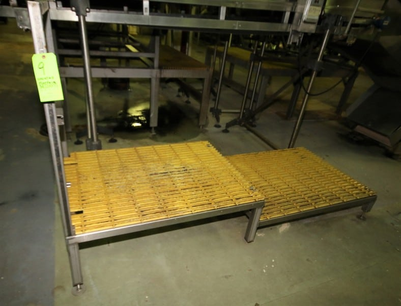 "~8 ft. L x 3 ft. W 2 - Level S/S Inspection / Operators Platform, 18"" & 11"" H with Plastic Grating & Handrail"