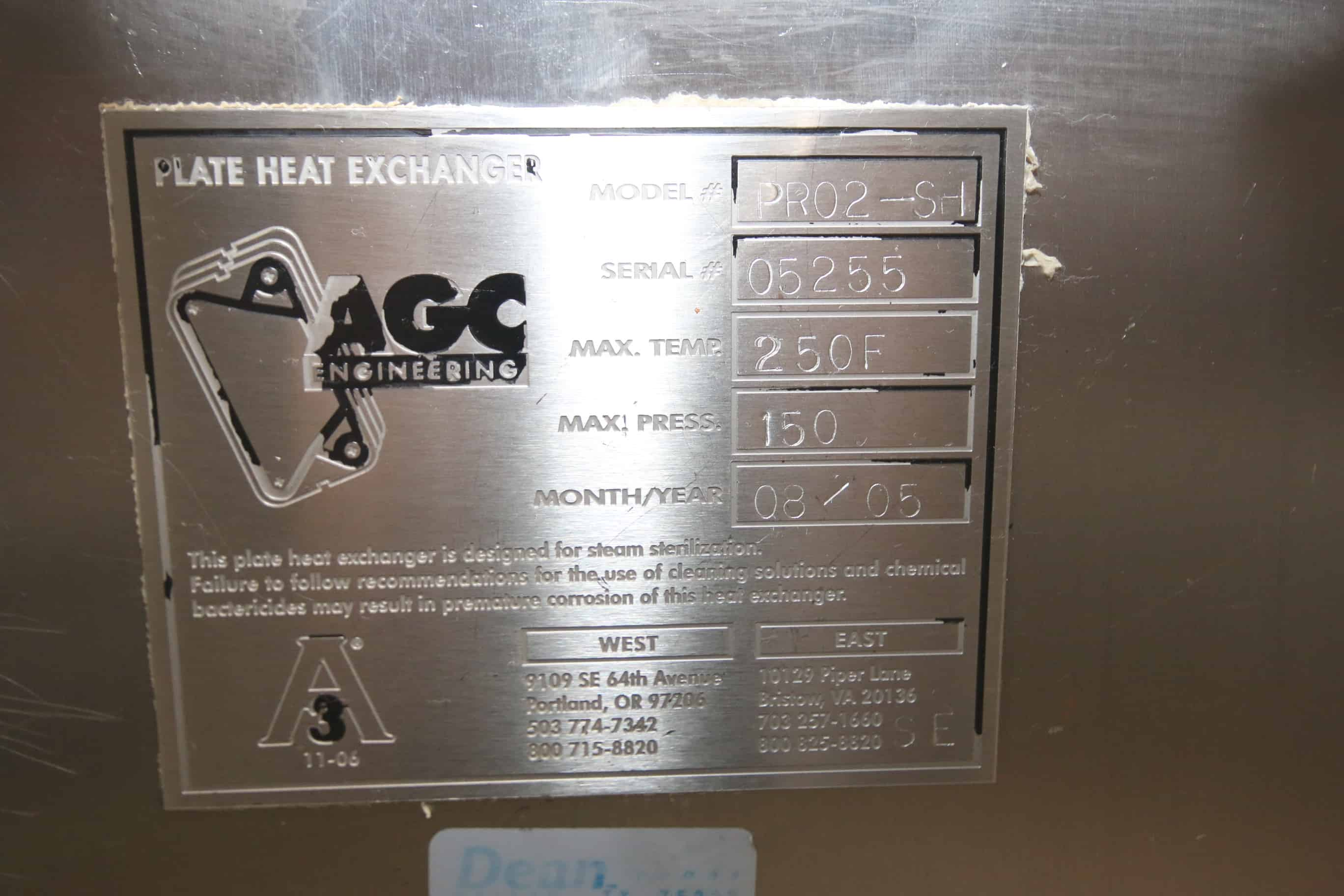 2005 AGC S/S Cream Plate Press, Model PRO2-SH, S/N 0525, Max. Temp. 250 Degree F, Max. Pressure 150 psi with (97) Plates includes Pallet of S/S Pipe Connectors, Temperature Sensors and Gauges, M. Davis Group Showroom Auction