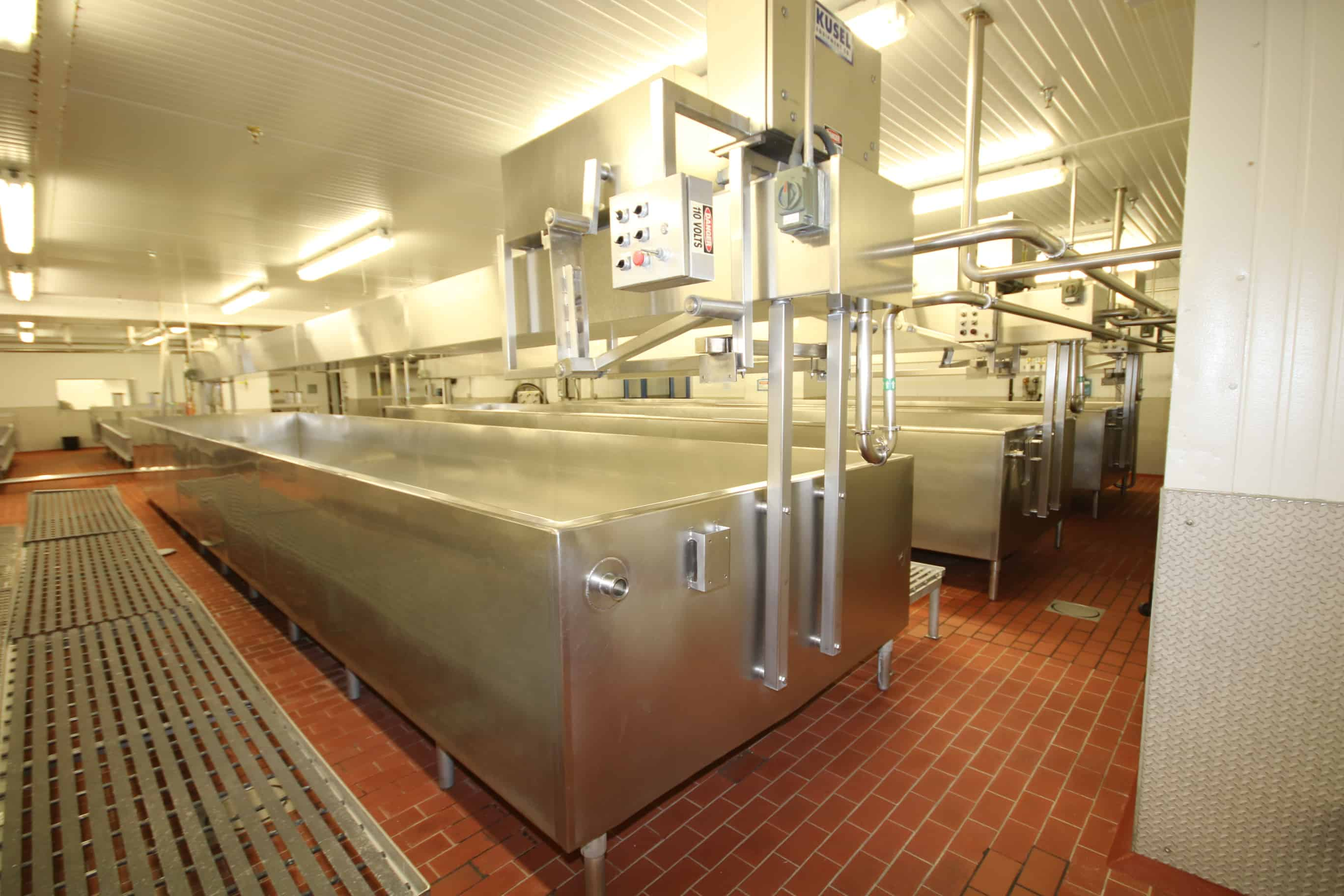 Stoelting Aprox. 30ft L x 6 ft W x 36″ H, (Aprox. 4,000 Gal.), Open Top Jacketed S/S Cheese Vat, Model VERTISTIR, S/N 83-12-167, with Overhead Bridge Agitation, Agitators Blades, Valves & Controls, (#4)