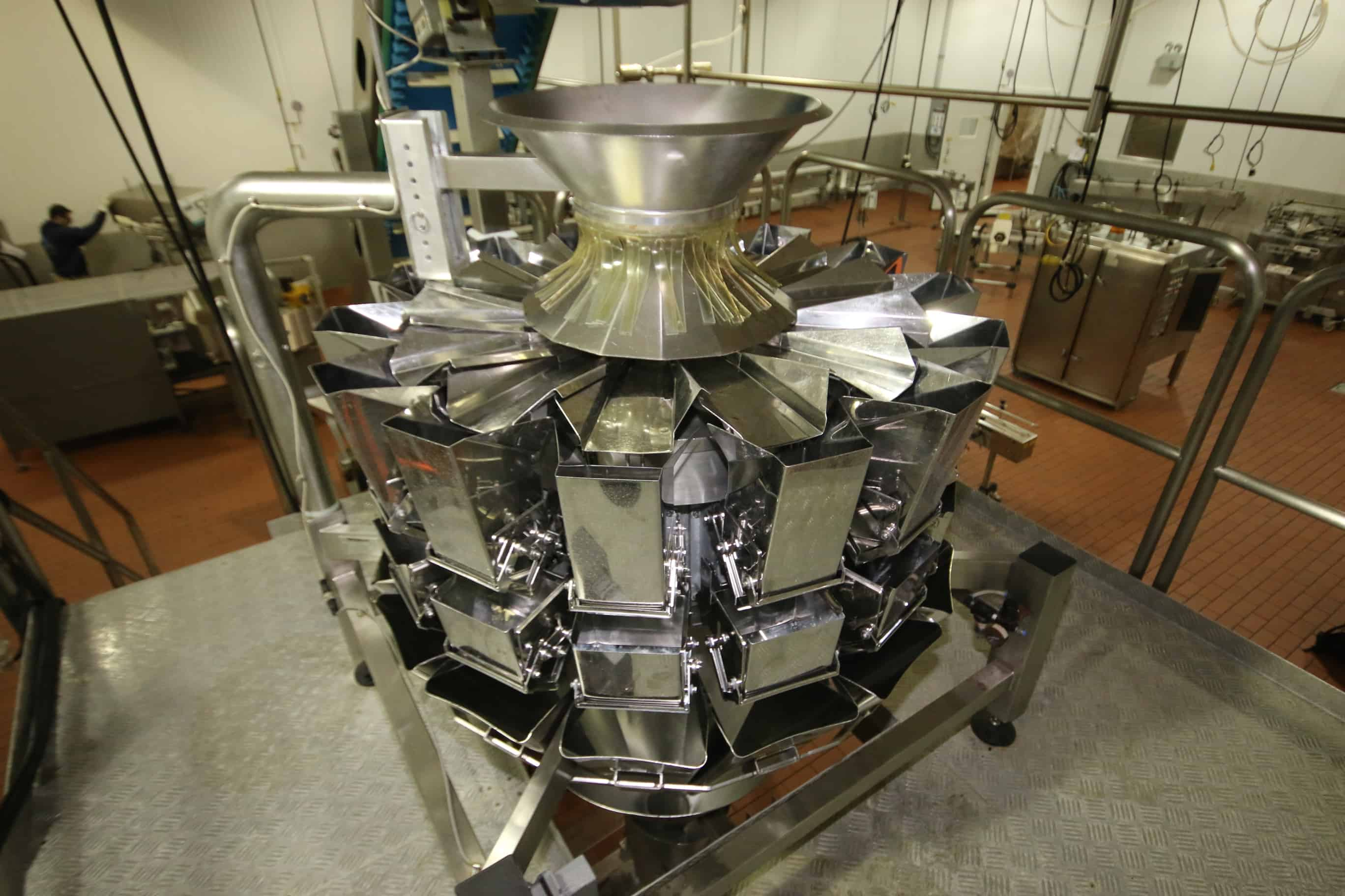 2010 Weighpak Primo Weigher 14 – Bucket S/S Rotary Scale, Model PRM036014HMBWD, SN 3018, with 5″ x6″ Bucket, iE5 PLC Controller, 220V, Mounted on a 100″ x 100″ x 87″ H S/S Scale Platform