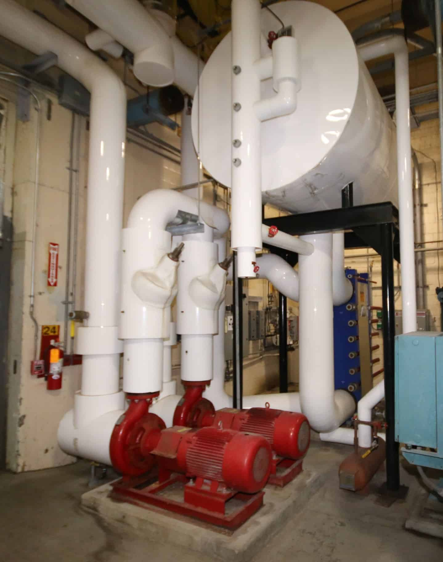 2010 Ammonia (NH3) Cooled Glycol System with Alfa Laval Model T20-BWFS, SN 30112-51394 Plate Press, Top Mounted Ammonia Accumulator, (2) Armstrong 50 hp Circulation Pumps & IRS Controls with Cutler Hammer VFD