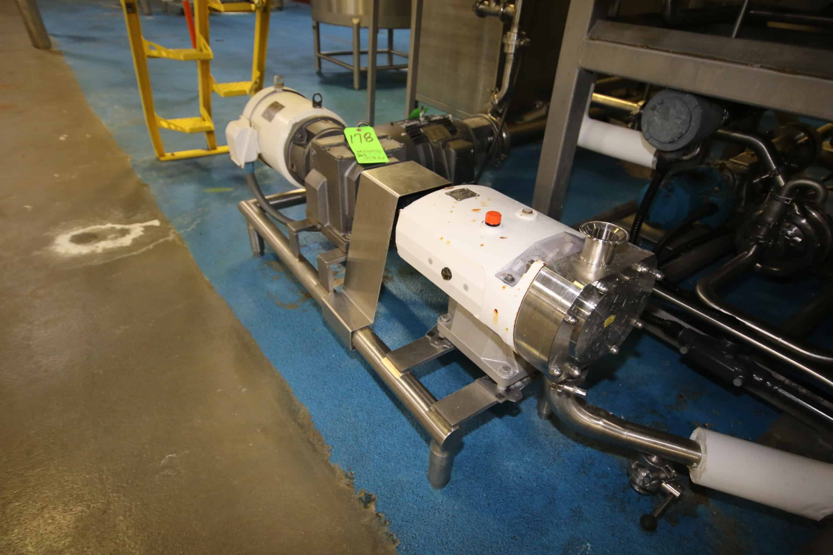 "2016 Alfa Laval 7.5 hp Positive Displacement Pump, Type SRU4/SS/HS, S/N 147160 with 2"" S/S Clamp Type Head and Sterling 1770 RPM Motor, 208-230/460 V, 3 Phase, Mounted on S/S Stand"