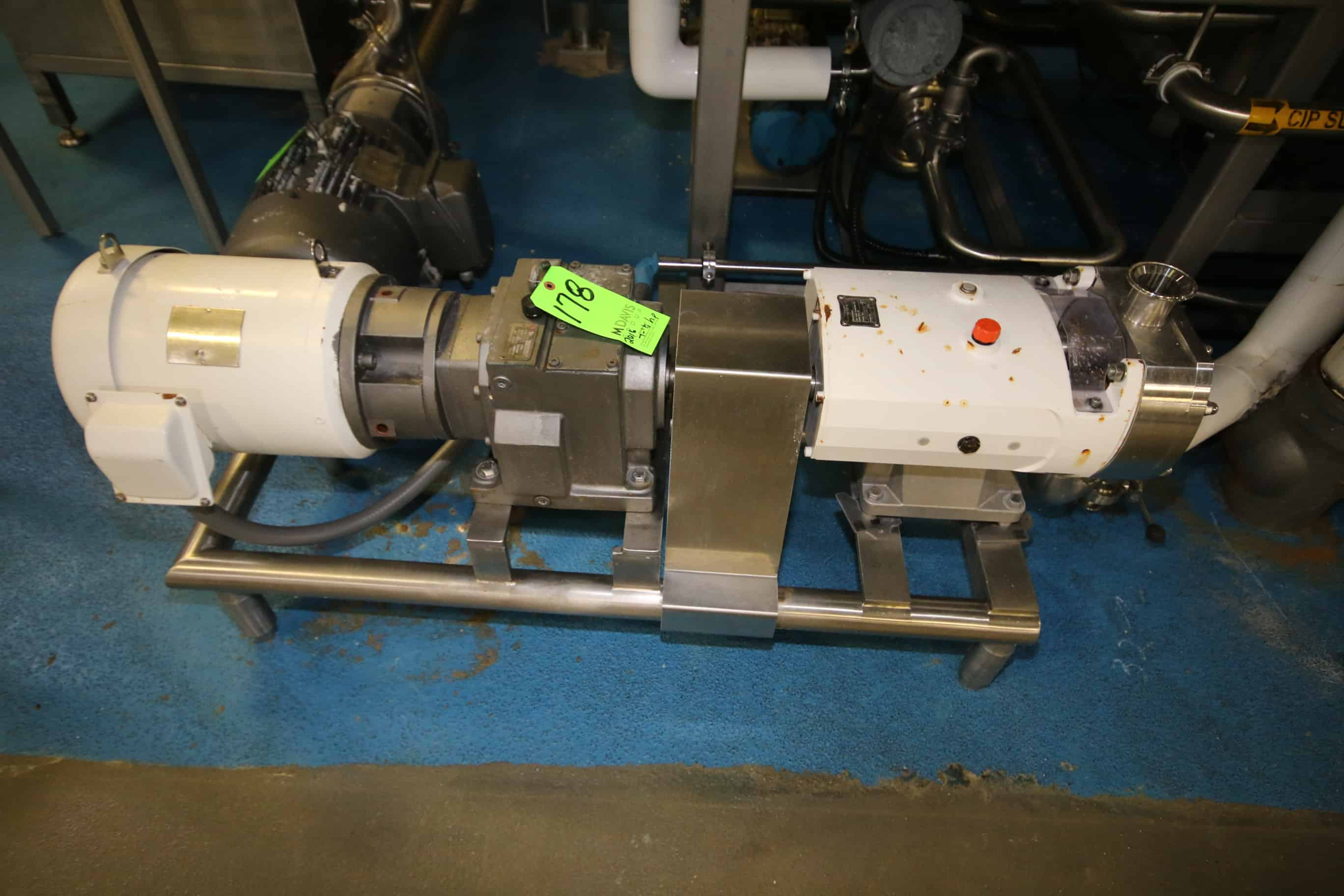 """2016 Alfa Laval 7.5 hp Positive Displacement Pump, Type SRU4/SS/HS, S/N 147160 with 2"""" S/S Clamp Type Head and Sterling 1770 RPM Motor, 208-230/460 V, 3 Phase, Mounted on S/S Stand"""