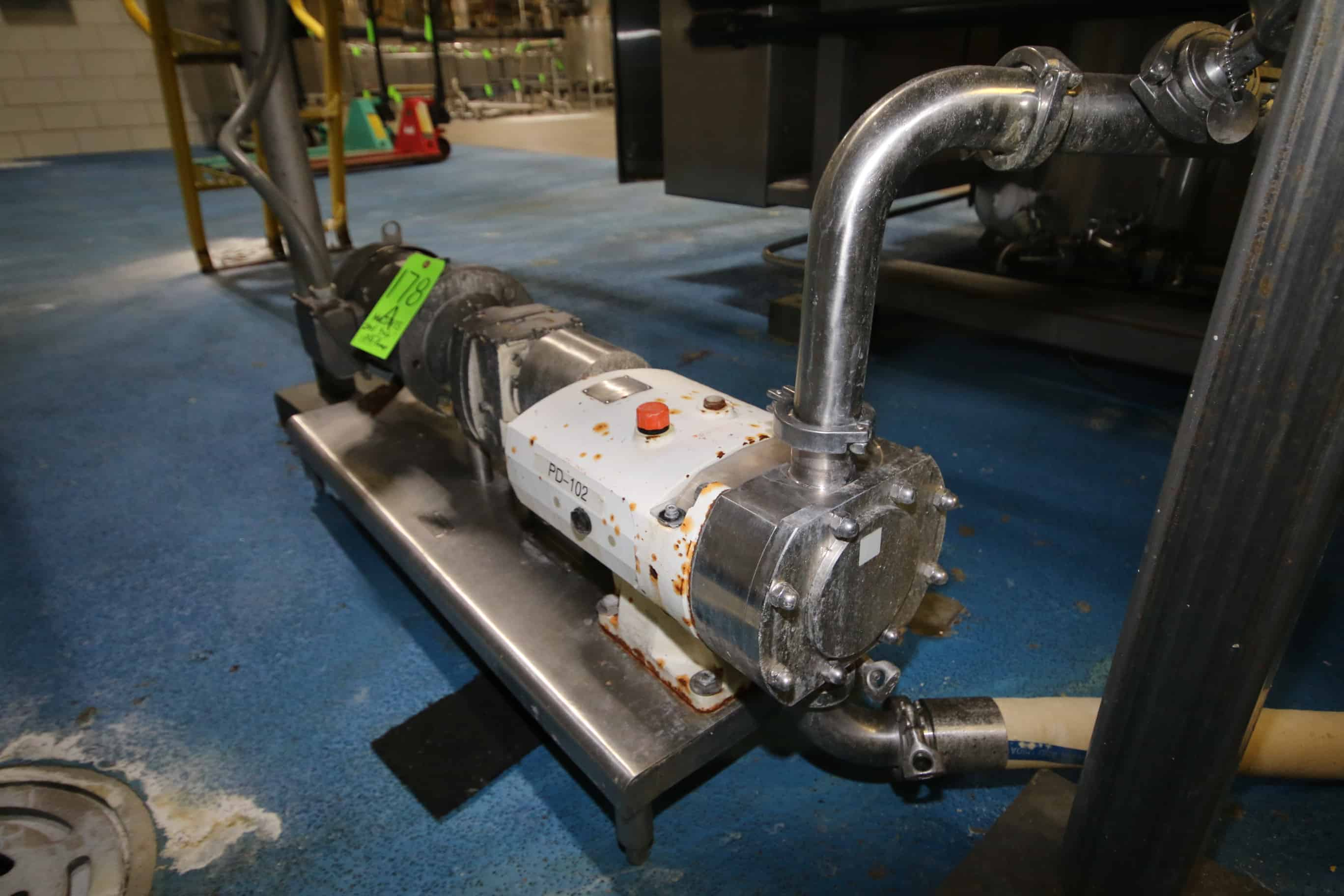 "2011 Alfa Laval 3 hp Positive Dipslacement Pump, Type SRU3, S/N 856398A with 2"" Clamp Type S/S Head and Sterling 1760 RPM Motor, 230/460 V, 3 Phase"