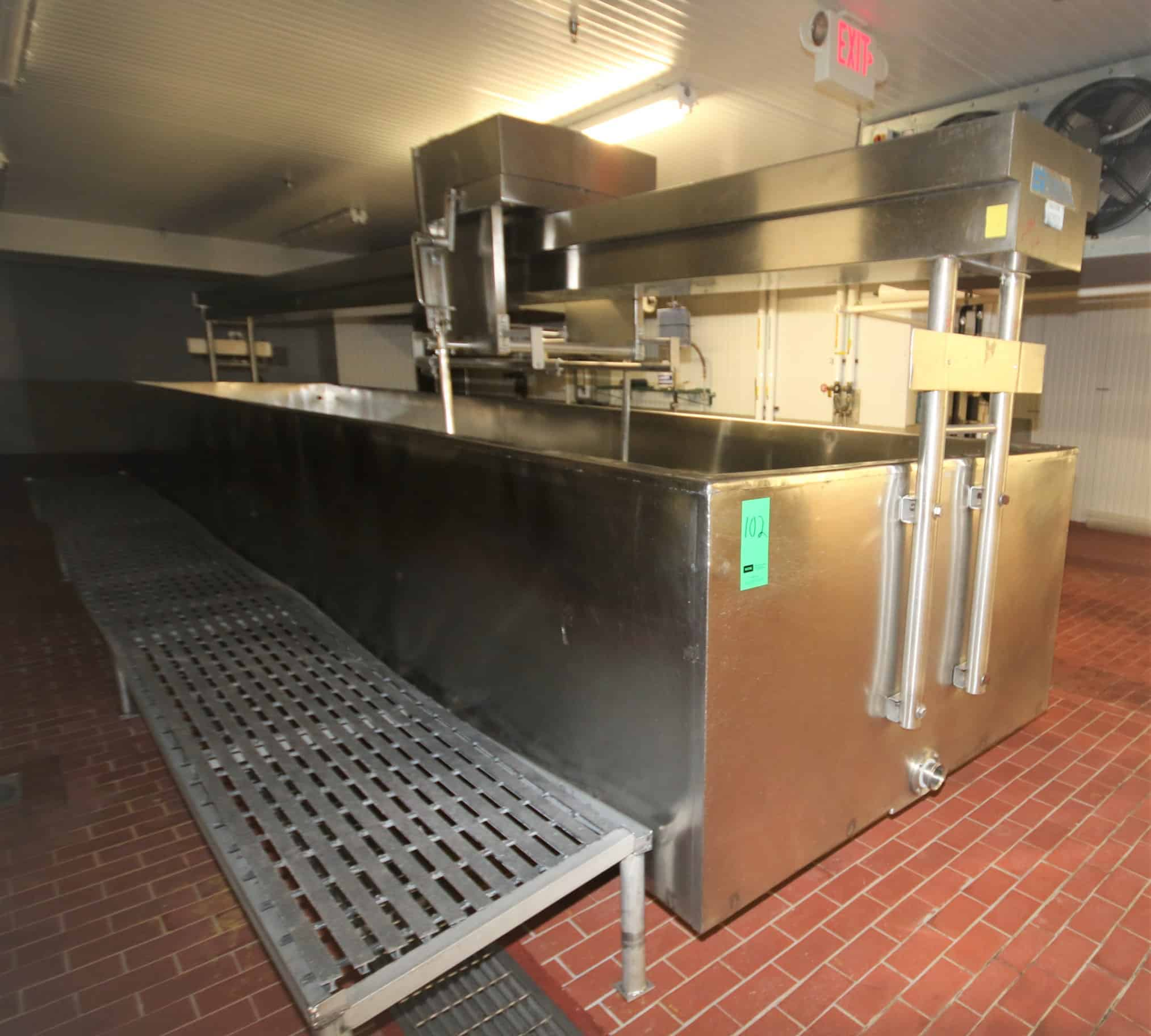 "Stoelting ~4,000 Gal. Open Top Jacketed S/S Cheese Vat, Model VERTISTIR, S/N 338-045-59-3500-83 with Overhead Bridge Agitation, Agitator Blades, Valves and Controls, Vat Dimensions ~30 ft. L x 6 ft. W x 36"" H"