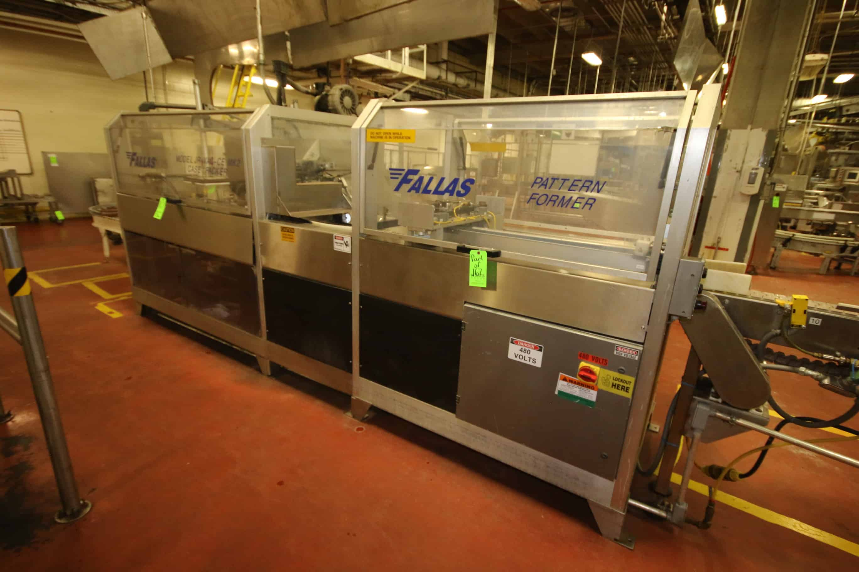 2000 Fallas Pattern Former/Case Packer, Model JR-VAC-CE, S/N JR061197-04 with (2) Allen Bradley SLC 5/04 PLC Controls, Allen Bradley PowerFlex VFD, Allen Bradley PanelView 550 Touchpad Display and SEW Drives
