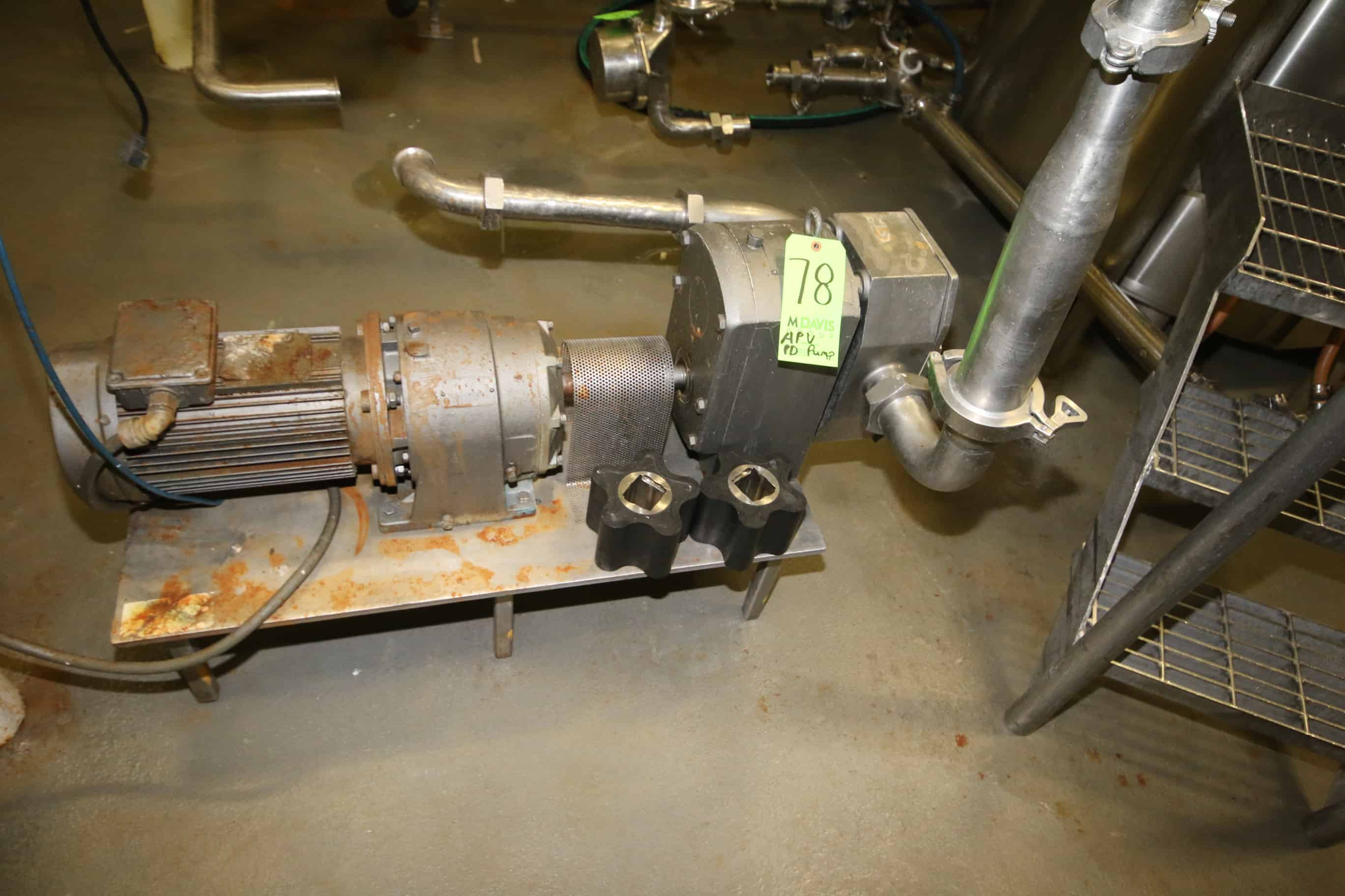 """APV 15 hp Positive Displacement Pump, Size R6TS, S/N 03AP454536-0100 with 2-1/2"""" Threaded S/S Head and Alliance Motor"""