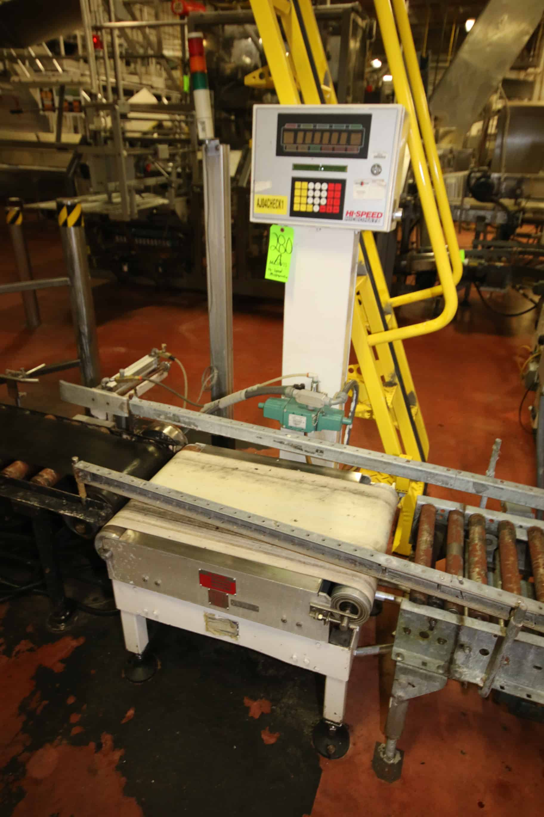 Micromate Hi-Speed Checkweigher, Model CM60K2-CT, S/N 8986 with Allen Bradley 16-Slot I/O Chassis, Model B-80, S/N 920607 with Infeed Belt and Outfeed Roller and Belt Conveyor and Operators Platform