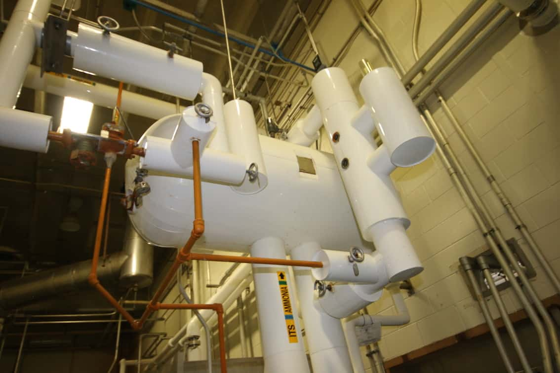 2011 Chester Jensen All S/S Plate Water Turbo Chiller, Model B-8-01-4-32, S/N 1121-P with (8) Plates, 2011 Phillips Ammonia Accumulator (Rigging Included in Sale Price)
