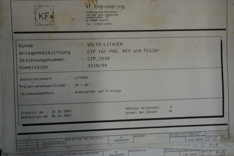 KF Engineering 3-Tank CIP Unit (With control panel) ,Y.O.M 1994 GERMANY