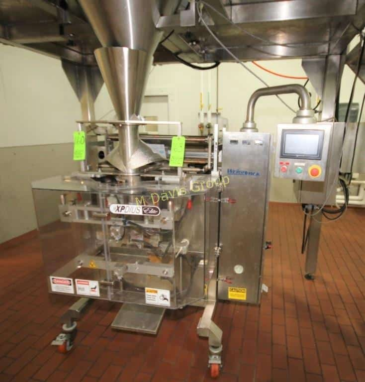 "2010 Weighpack XPDIUS S/S Vertical Form, Fill and Seal Bagging Machine (VFFS), Model XPD-IUX800 ELITE, S/N 3015, with 10"" Seal Jaws, Set Up with 4? Forming Head Filling 16 oz. Product, S/N 300015, with 10"" Seal Jaws, 4"" Forming Head, Mitsubishi PLC Controls with Weinview Touchpad Display and (2) Panasonic Servo Drives, Melsec FX1N-60MT, 220 V, Single Phase"