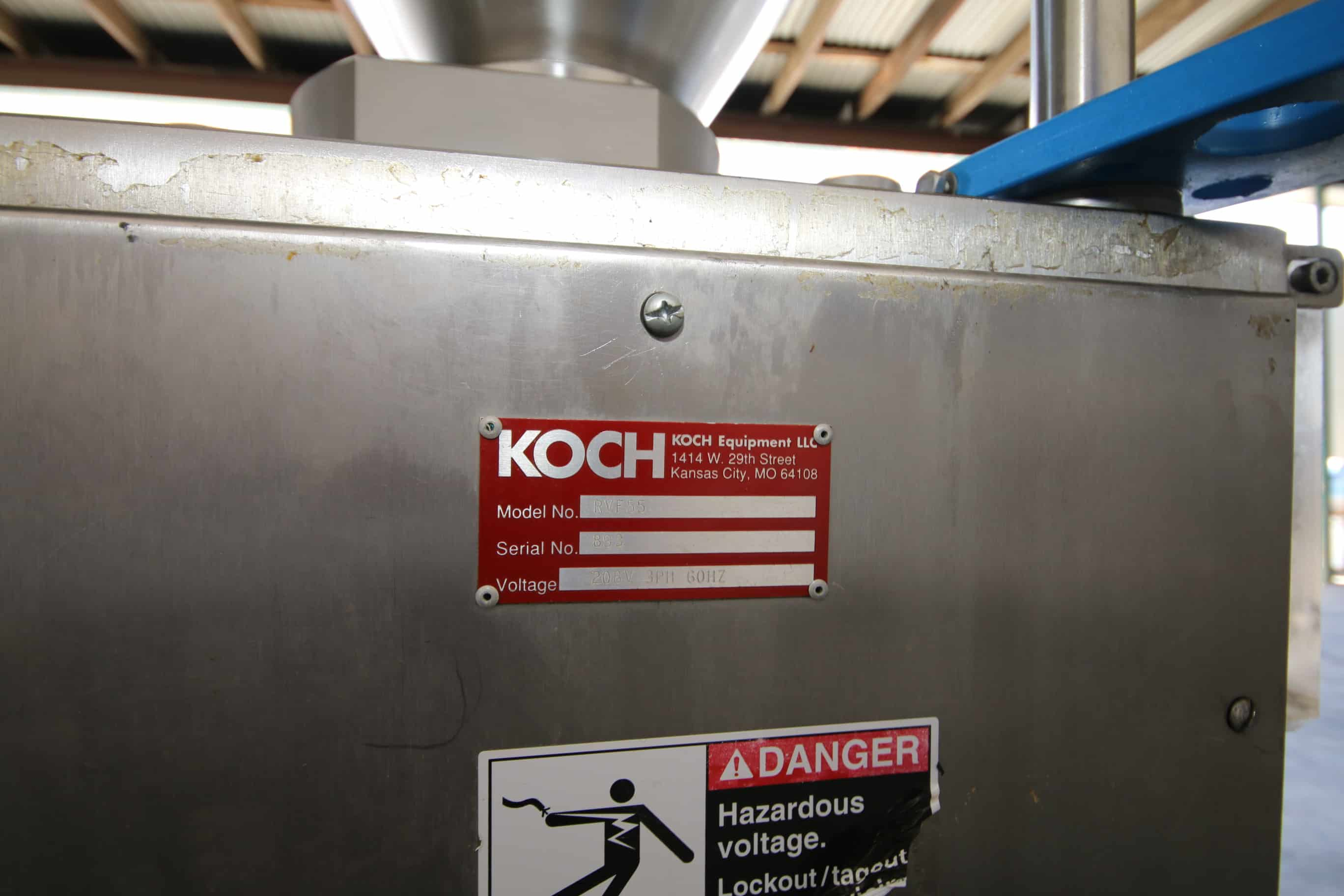 """Kock S/S Stuffer, M/N RVF55, S/N 893, 208 Volts 3 Phase, with Spare Tooling and 37-1/2"""" Dia. S/S Funnel"""