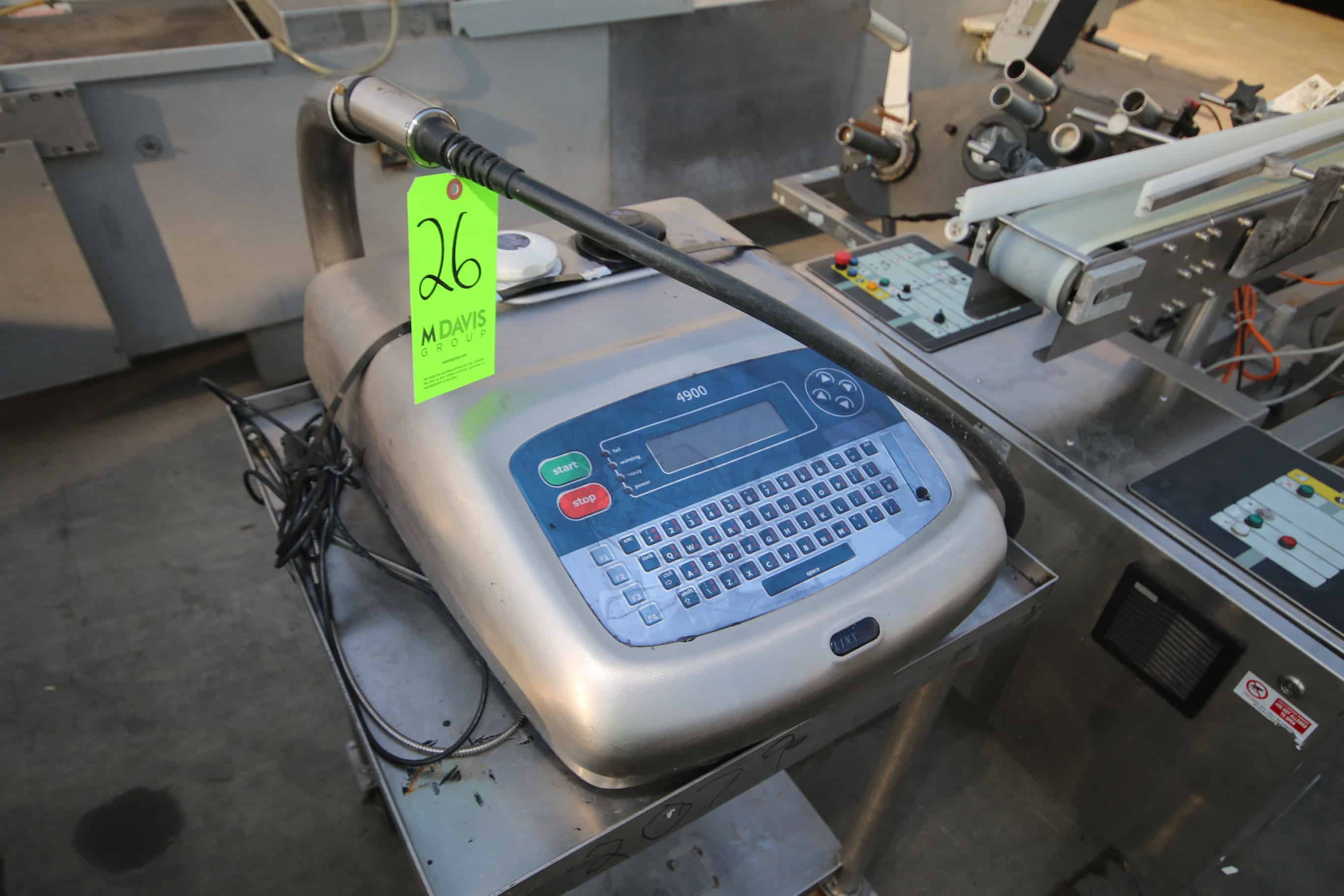 Linx 4900 Ink Jet Coder, with Display and Head, Mounted on Portable S/S Frame