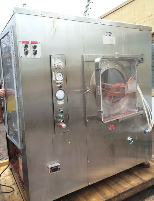 "Thomas Engineering 60"" Accelacota Coating System. Model:  60-111, Serial: 577  60"" Diameter.  System comes with Spray Arm, Air Handler (steam), Exhaust Fan.  Blower is driven by a 25 Hp 230/460 Volt, 60 Hz, 3 Phase Motor. As shown in photos (Located in New York)***NYINC***"