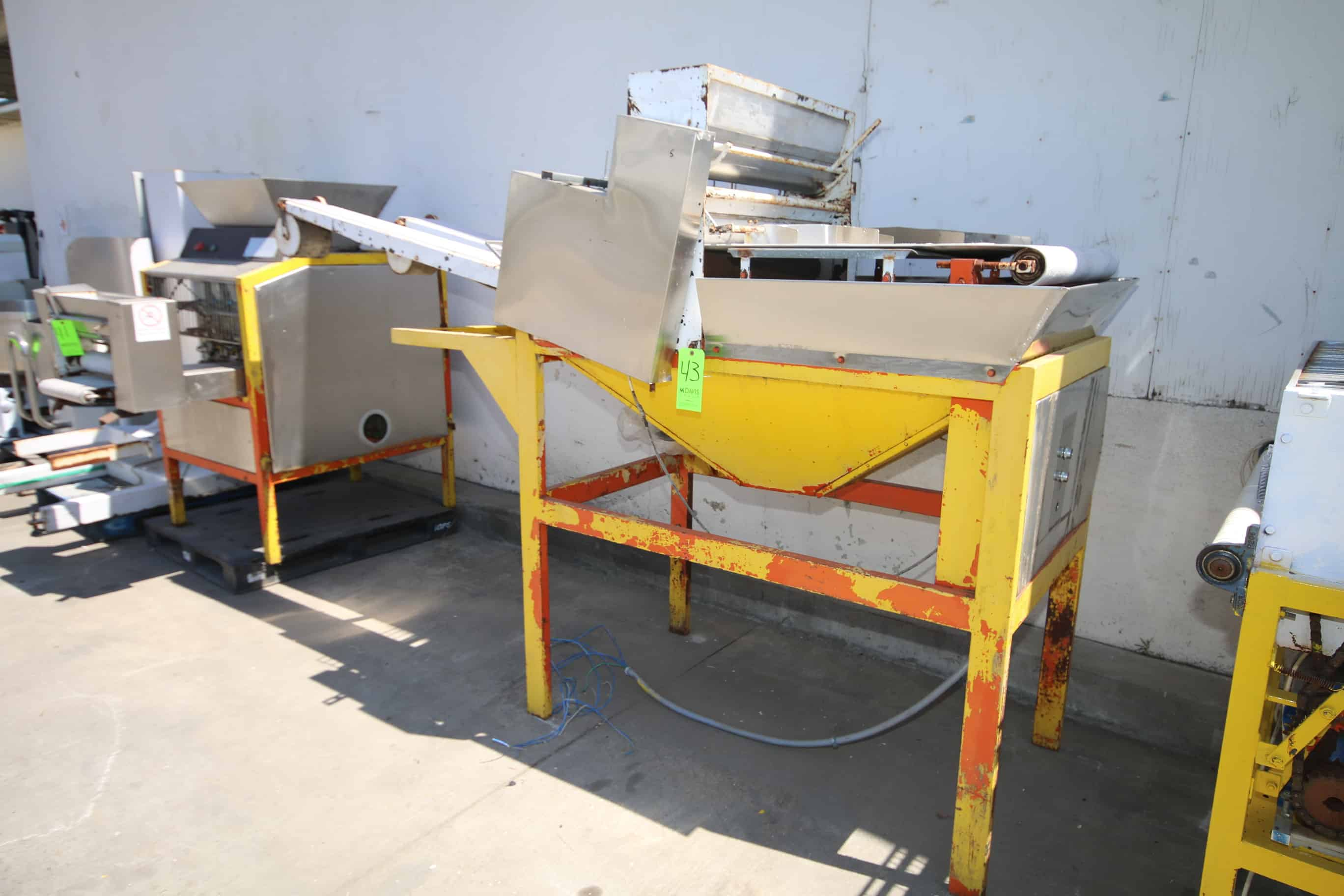 """Dough Flattener/Sheeter, with (3) Aprox. 6"""" W Discharge Runs, Mounted on Steel Frame"""