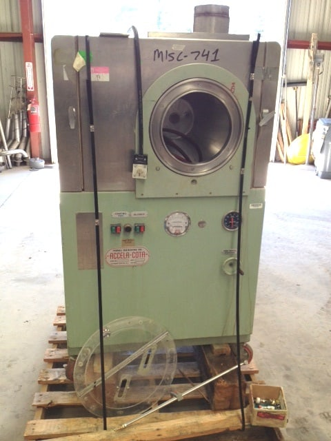 "Thomas Engineering Accela-Cota 24"" Tablet Coating Pan. Unit features full stainless steel contact parts and Spray gun. Also, includes Teko, Thomas pump system with a Watlow 965 series temperature controller. (Located in New Jersey)***ECR***"