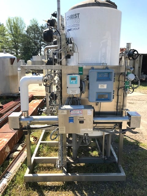 "Used UltraPure Water Treatment Skid for sale. The treatment vessels are stainless steel 100 PSI and 2'6"" dia. X 6' straight side. The skid also includes a Aquafine UV light model HX02BDL-U, Chlorine Monitor, Hardness Monitor, Tekleen model ABW2-SP 10 mic filter, Shell and tube exchanger, Grundfos pump and more.(Located in New Jersey)***ECR***"