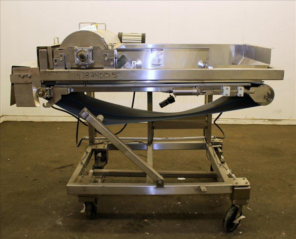 Loos Machine & Automation Waterfall Type Applicator, 304 Stainless Steel. Has approximate 28-1/2″ wide x 60″ long belt conveyor with 1/2hp self driven roll (Missing belt). Approximate 10″ diameter x 27″ long carousel driven by a 1hp, 3/60/208-230/460 volt, 1725 gear motor, 50 to 1 ratio. Approximate 6″ diameter x 27-1/2″ long pinwheel driven by a 1/4hp self driven roll. Mounted on a stainless steel frame with casters. Serial# 4197-1002R (Located in Chicago)***MDGAEK***